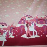 Hilco Jersey Stoff Einhorn Prinzessin lila rosa Bordüre